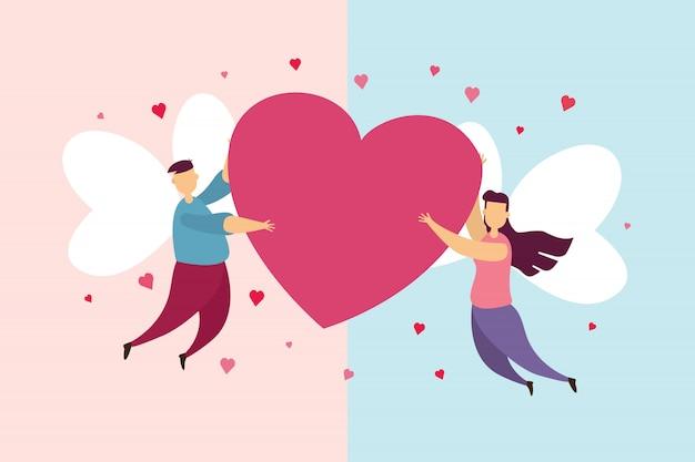 Счастливые пары любят крылатую муху на небе и держат сердце на праздновании дня святого валентина.