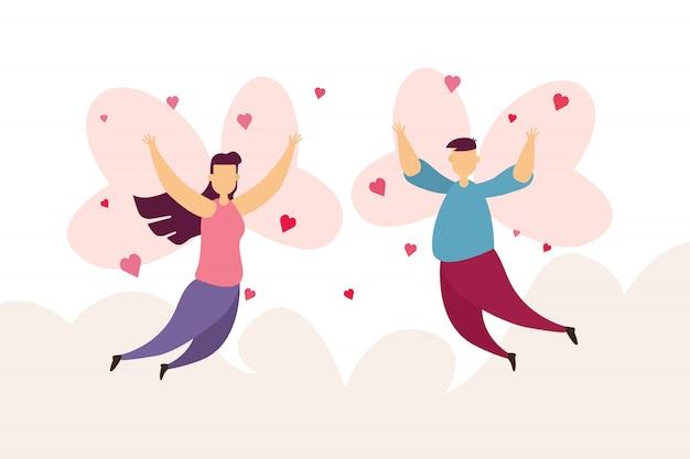 Счастливые пары любят муха крыла на небе в фестивале дня валентинки и розовой предпосылке.