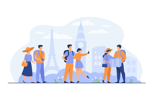 Happy couples traveling in europe and taking photo isolated flat vector illustration. cartoon group of people with backpack, camera and map. vacation and tourism concept