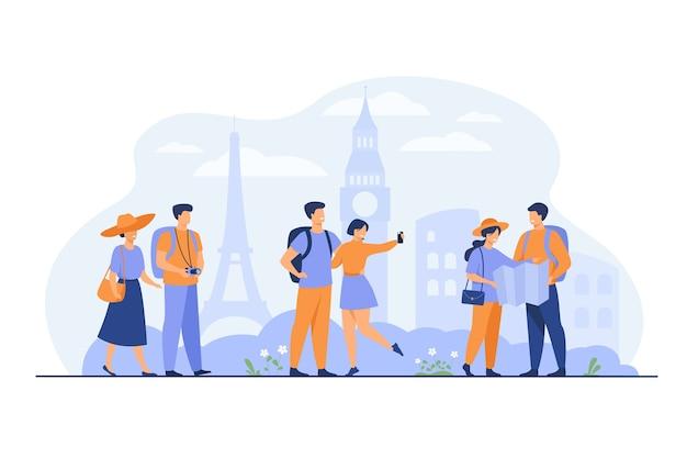 Coppie felici che viaggiano in europa e che prendono l'illustrazione piana di vettore isolata della foto. gruppo di persone del fumetto con zaino, macchina fotografica e mappa. concetto di vacanza e turismo