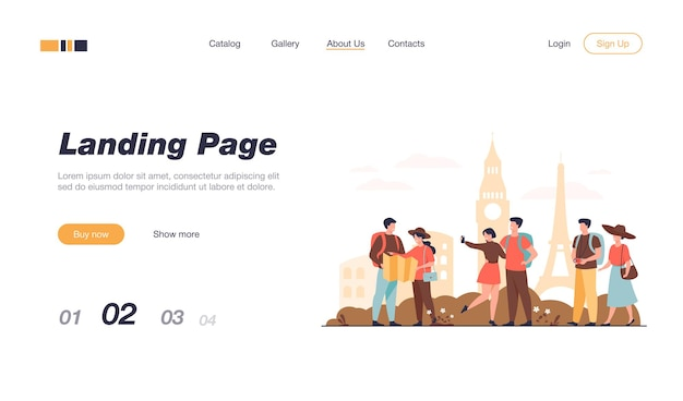Happy couples traveling in europe and taking photo isolated landing page template