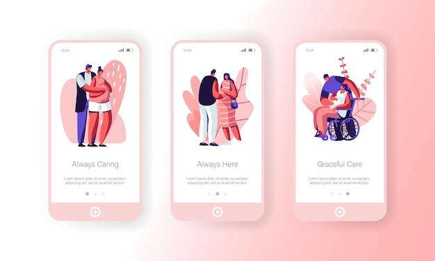아기 모바일 앱 페이지 온보드 화면 설정을 기다리는 행복 한 커플.