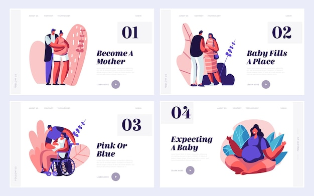 Happy couples waiting baby website landing page templates set.