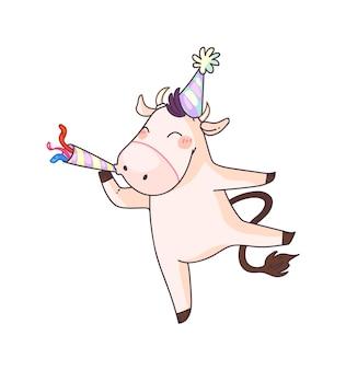 Счастливая корова празднует новый год 2021 изолированные