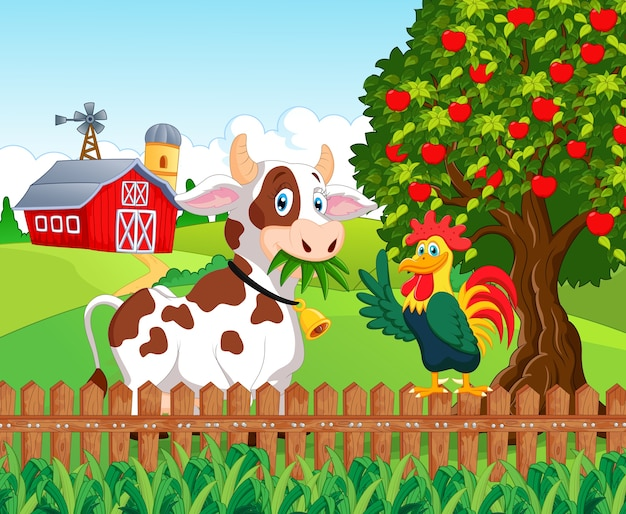 Happy cow and chicken in the farm