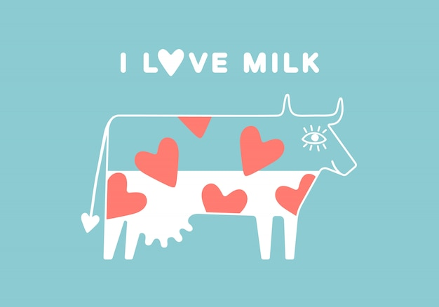 Happy cow with udder and red heart full of milk