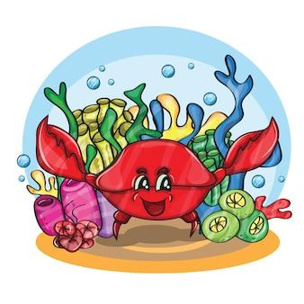 Happy crab in ocean - cartoon vector illustration