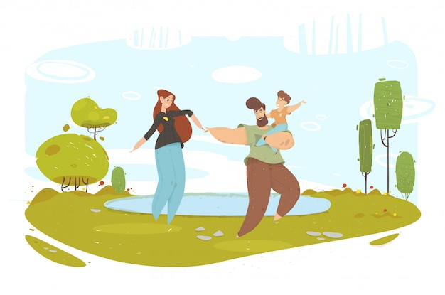 Happy craft family having fun on nature near lake