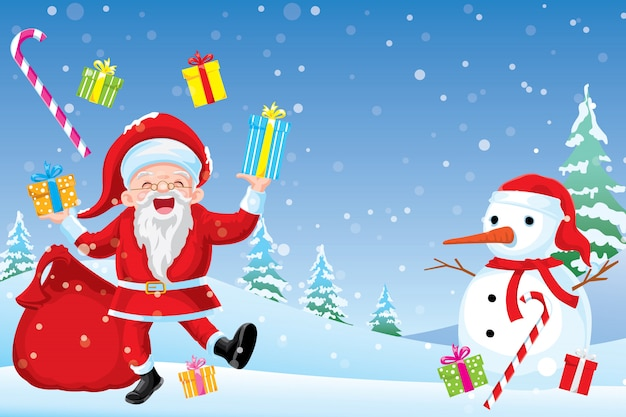 Happy cristmasday  santa claus smiled and was kind and prepared a gift box for the children.
