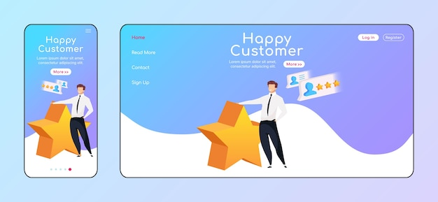 Happy customer adaptive landing page flat color template. smiling man with star mobile and pc homepage layout. high rating one page website ui. crm system webpage cross platform design