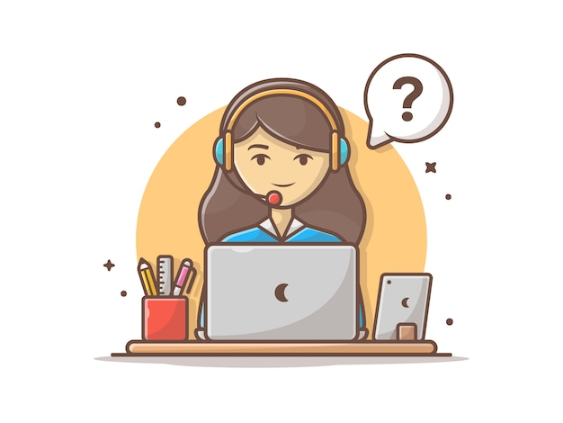 Happy customer service with laptop and stationary vector clip-art illustration