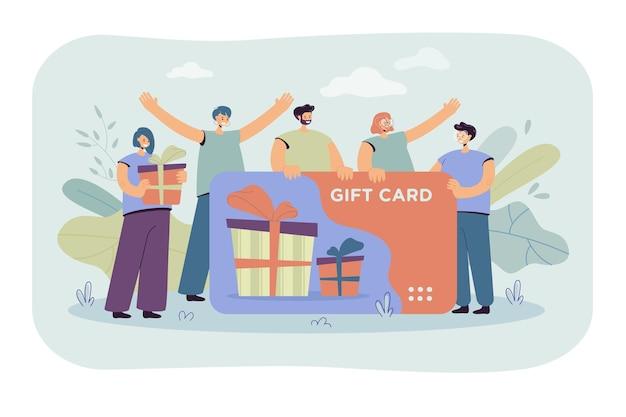 상점이나 상점에서 기프트 카드를받는 행복한 고객. 판매 시즌을 축하하는 바우처를 가진 소비자. 만화 그림