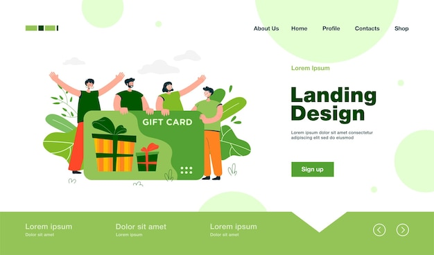 Happy customers getting gift card from store or shop landing page in flat style