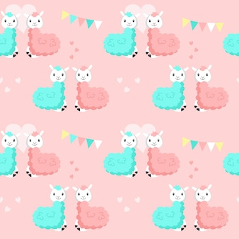 Happy cute alpaca couples vector seamless pattern