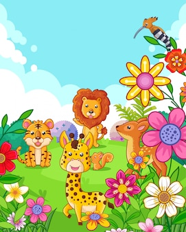 Happy cute animals with flowers playing in the garden