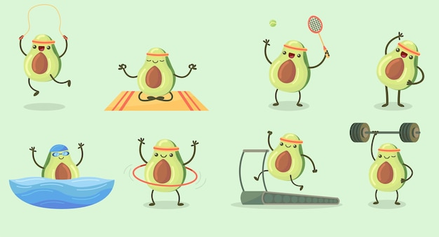Happy cute avocado exercising flat set