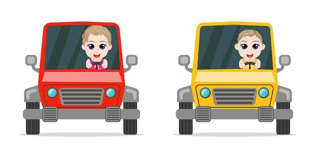 白い背景で隔離の車を運転して幸せなかわいい男の子
