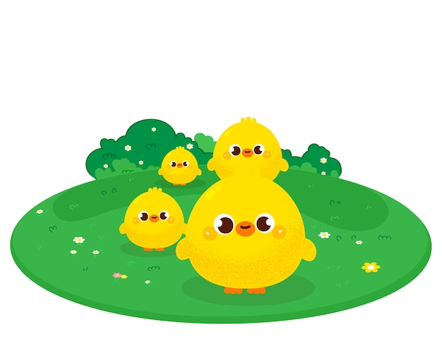 Happy cute baby duck and friend cartoon illustration