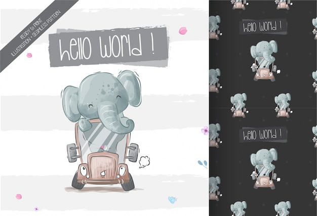 Happy cute baby elephant on bus seamless pattern