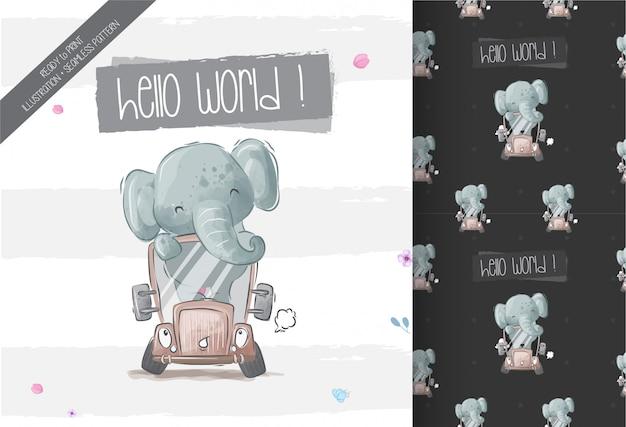 Happy cute baby elephant on bus seamless pattern