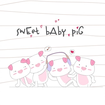 Happy cute baby pig family seamless pattern