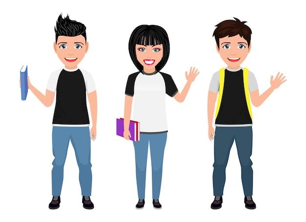 バッグパックの本と手を振って陽気な表情で幸せなかわいい美しいスマート大学生の男の子と女の子のキャラクター