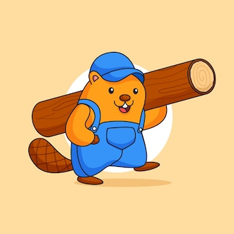 Happy cute beaver carrying logging timber wood illustration