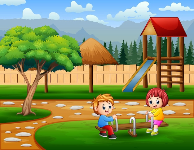 Happy cute boy and girl play seesaw