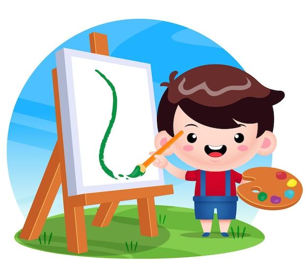 Счастливый милый мальчик живопись