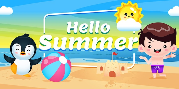 Happy cute boy and peguin presenting summer greeting banner