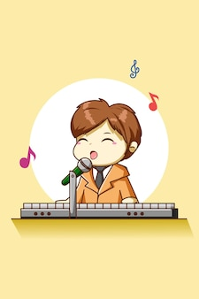 Happy and cute boy playing the piano cartoon character illustration