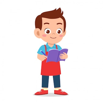 Happy cute boy waiter write order
