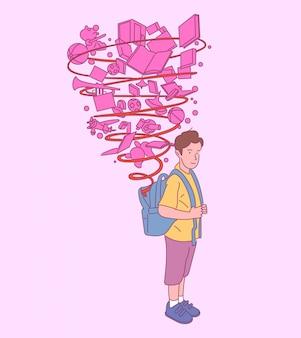 Счастливый милый мальчик с рюкзаком, готовым к школе, успешная подготовка к образованию. рисованной иллюстрации стиля.