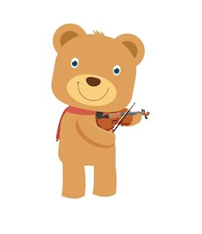 Happy cute brown teddy bear playing violin