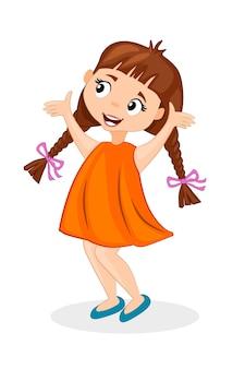 Счастливый милый мультфильм маленькая девочка с косичками