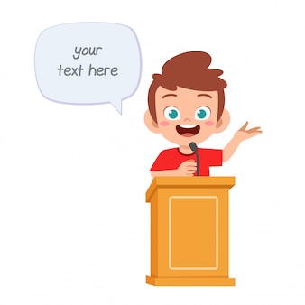 Happy cute cartoon little kid boy speak on podium