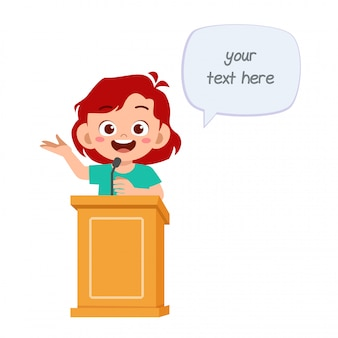 Happy cute cartoon little kid girl speak on podium