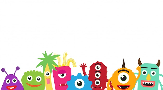 Happy cute cartoon monsters gangs on white background