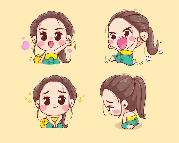 Счастливые милые персонажи в талисмане иллюстрации шаржа традиционной коллекции тайского набора.