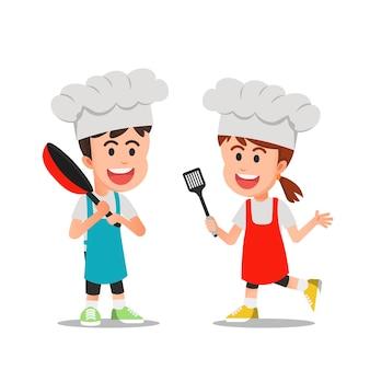 행복 한 귀여운 요리사 아이