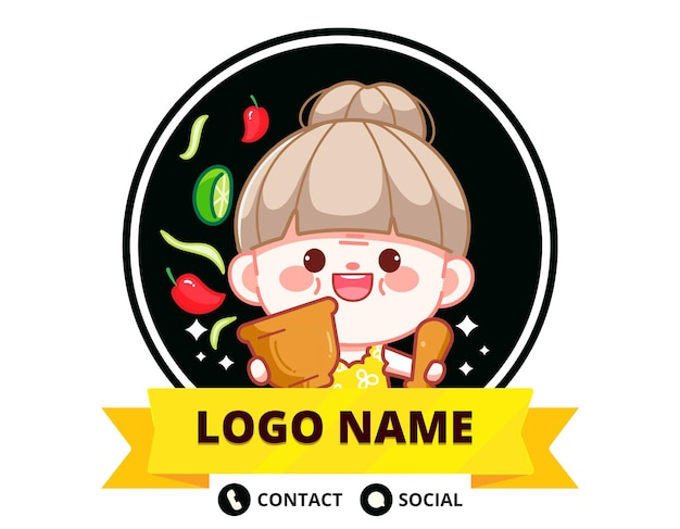 Happy cute chef with papaya salad banner logo cartoon art illustration