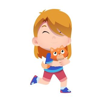 幸せなかわいい子供たちのキャラクターがペットの猫と遊ぶ