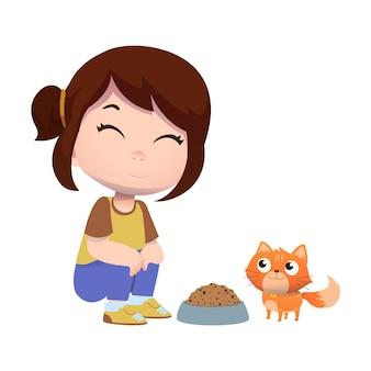 幸せなかわいい子供たちのキャラクターはペットの猫と遊ぶ