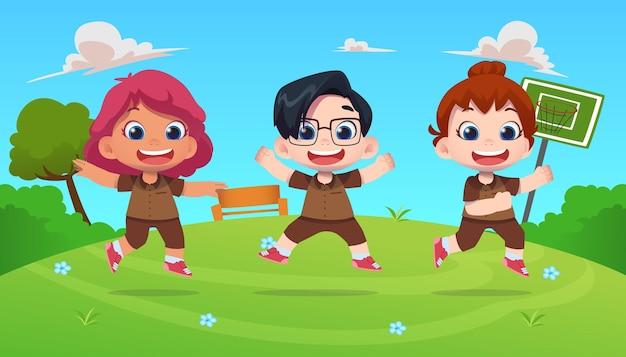 幸せなかわいい子供たちのキャラクターが屋外の自然に飛び込む