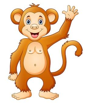 행복 한 귀여운 침팬지 만화