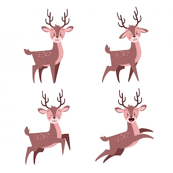 Happy cute christmas deer with many expression set