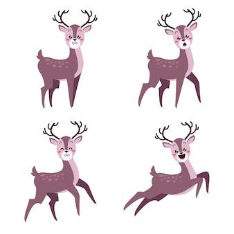 Счастливый милый рождественский олень с множеством выражений