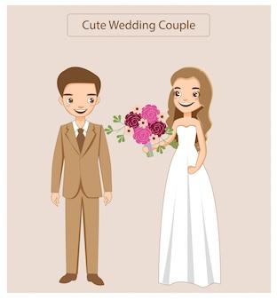 웨딩 드레스를 입고 행복 한 귀여운 커플