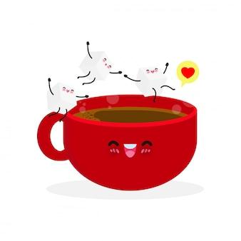白い砂糖の面白いキャラクターとコーヒーの幸せなかわいいカップ。フラットスタイルのイラスト白い背景イラストを分離したコーヒーカップポスターにジャンプかわいい砂糖