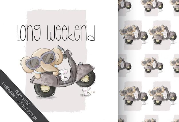 Happy cute elephant on motorcycle seamless pattern